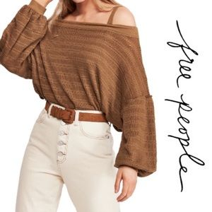 Free People Sistine Cold Shoulder Hacci Top Size M